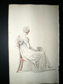 Ackermann 1815 Hand Col Regency Fashion Print. Evening Dress 14-10